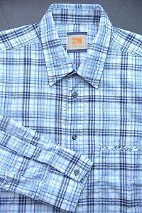 HUGO-BOSS-ORANGE-MEN-039-S-LONG-SLEEVE-BLUE-PLAIDS-COTTON-CASUAL-SHIRT-New-L