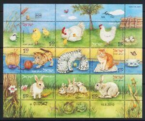 ISRAEL STAMPS 2010 ANIMALS & OFFSPRING SHEET CAT RABBIT CHICKEN FAUNA