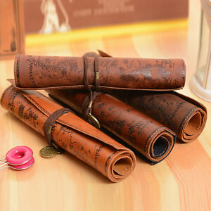 Vintage-PU-Leather-Pencil-Pen-Case-Cosmetic-Pouch-Pocket-Brush-Holder-Makeup-Bag