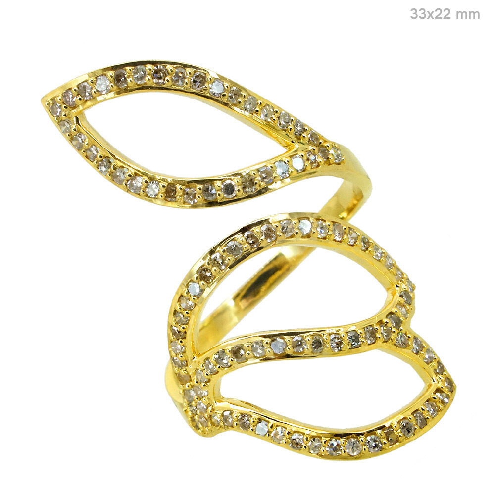 14k Yellow gold 0.67Ct Natural Pave Diamond Wrap Vintage Style Leaf Ring Jewelry