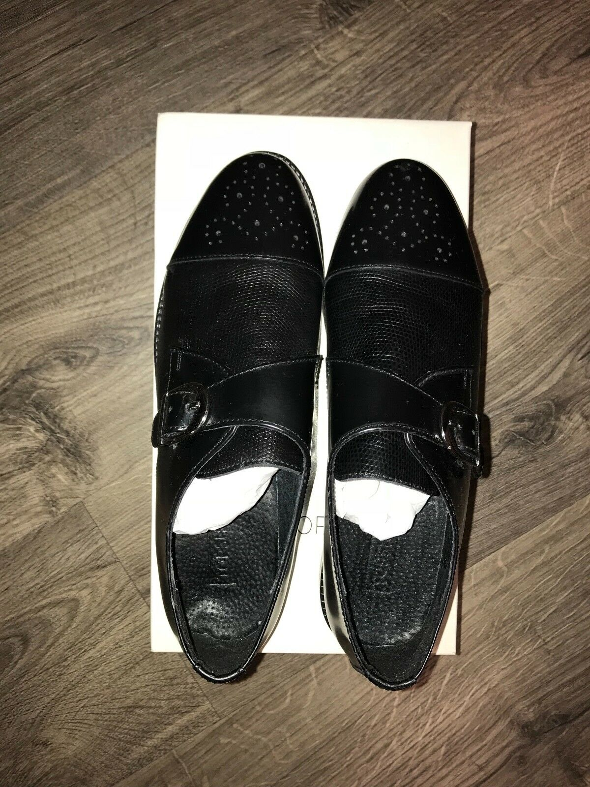 Women's Topshop KAVA KAVA KAVA Brogue Monk shoes size 8.5, black, 100% leather f9f898