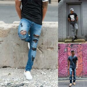 Details zu Mens Loyalty Skinny Stretch Denim Designer Distress Ripped Repair Stylish Jeans