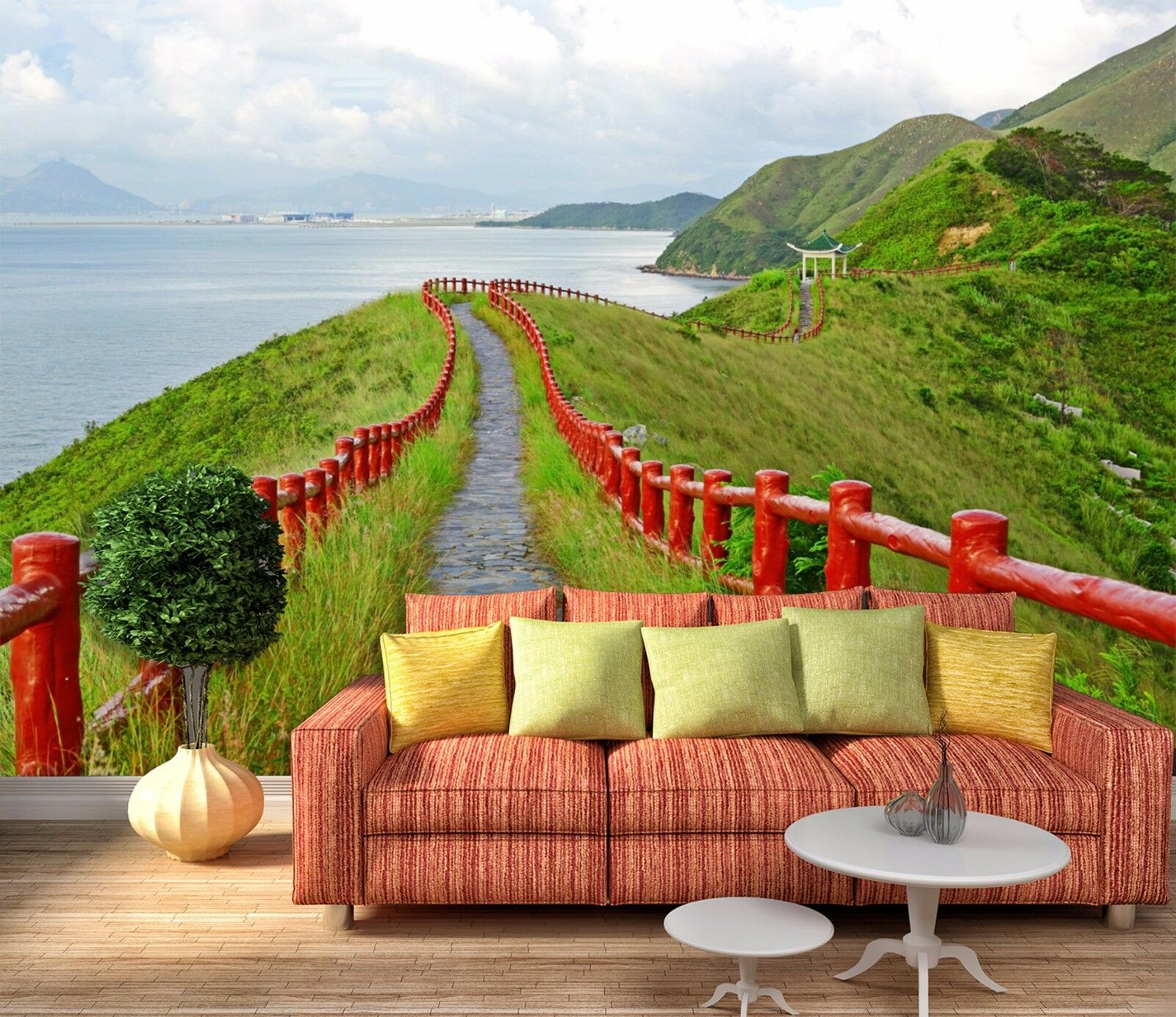 3D Sky Green Walkway 734 Wallpaper Mural Paper Wall Print Wallpaper Murals UK