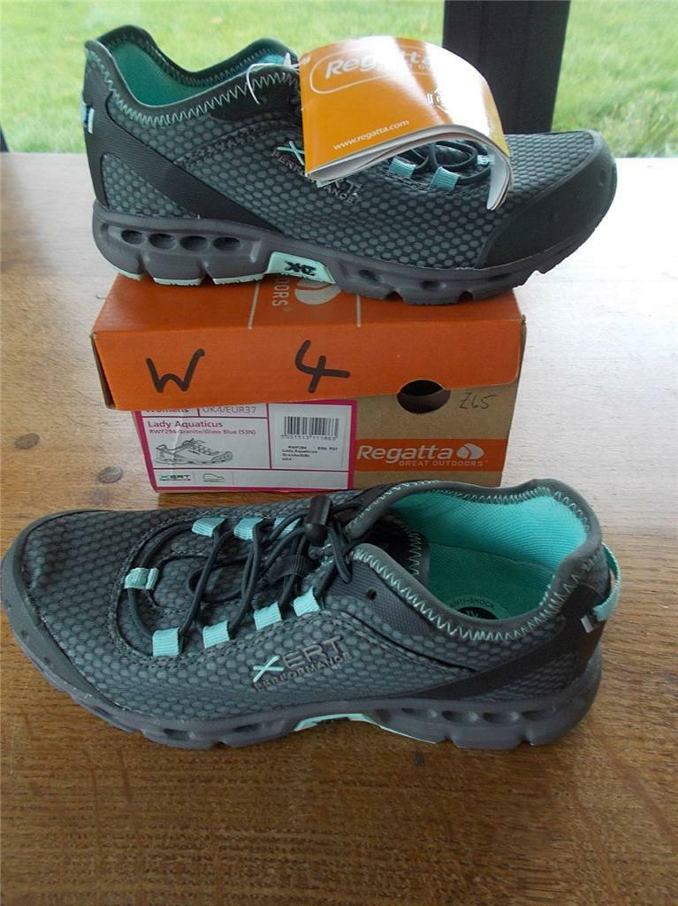 REGATTA Quicklace LADY AQUATICS Damenschuhe Schuhes Grau Blau Trainer Schuhes Damenschuhe UK 4 New in Box 321634