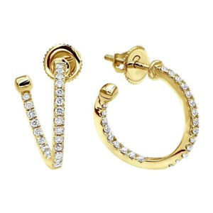 0.41 Carat Genuine Diamond Engagement Hoop Earrings 14K Solid Yellow Gold Studs