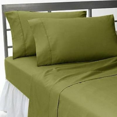 Duvet Set Fitted Sheet Moss Solid All Sizes 1000 Thread Count Egyptian Cotton