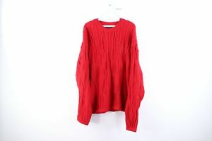 Vintage-90s-Streetwear-Herren-2xl-Langarm-COOGI-Style-Texturiert-Pullover-rot
