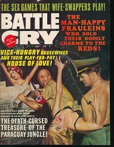 BATTLE-CRY-July-1967-Men-039-s-Adventure-Magazine-Nazis-Bondage-GGA-Brick-Torture-vv
