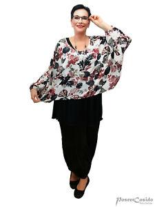 LAGENLOOK Überwurf Shirt Tunika Oversize L-XL-XXL-XXXL 46 48 50 52 54 56 58 weiß