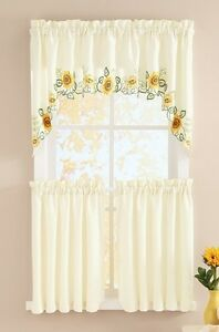 3 Pc Sunflower Tiered Cafe Curtain Country Scalloped Edges Swag Panels Set 626850297751 Ebay