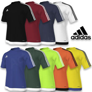 Hommes-ADIDAS-Estro-15-Climalite-Manches-Courtes-T-Shirt-Top-Football-Taille-S-M-L-XL