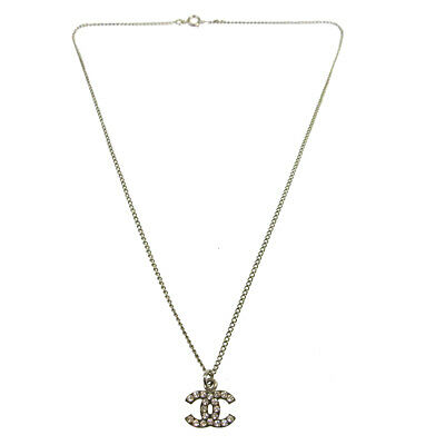 official good looking affordable price CHANEL Vintage CC Logos Rhinestone Pendant Necklace Silver ...