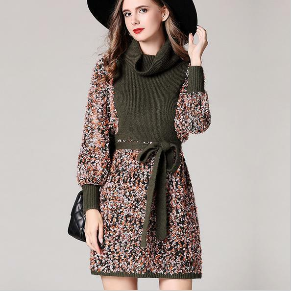 New Occident fashion high quality Fall winter high collar knitted classy dress S