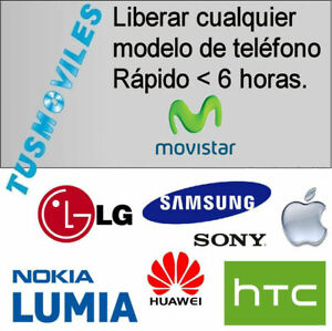 LIBERAR MOVISTAR RÁPIDO 6H. NOKIA MOTOROLA SAMSUNG LG HTC SONY ver no soportados