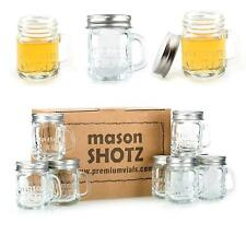 Premium Vials - Mini Mason Jar Shot Glasses With Handles Set of 8