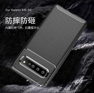 Pour-Samsung-Galaxy-S10-5G-Slim-Chocs-Carbone-Fibres-Caoutchouc-Souple-Housse