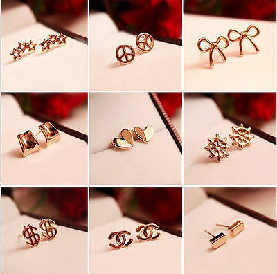 1pair mini gold tone stud earrings multi designs heart star cross