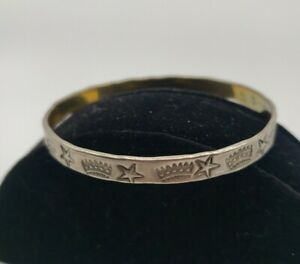 Taxco-Mexico-Hand-Tooled-Pressed-925-Silver-VTG-Cuff-Bangle-Bracelet-Crown-Star