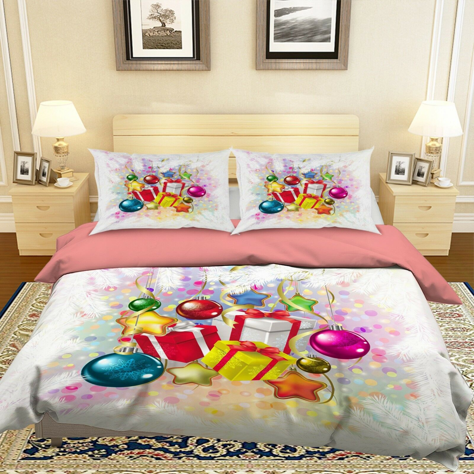 3D Christmas Xmas Beautiful 9 Bed Pillowcases Quilt Duvet Cover Set Single Queen