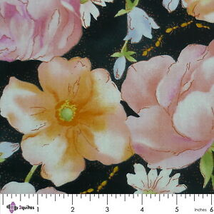 LARGE-FLOWERS-ON-BLACK-Quilting-Patchwork-Fabric-FQ