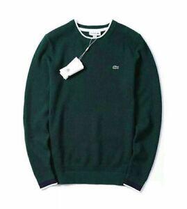 8ac36eaf483 Details about BNWT LACOSTE Men's Green Crew Neck Knit Sweater Jumper XL FR6