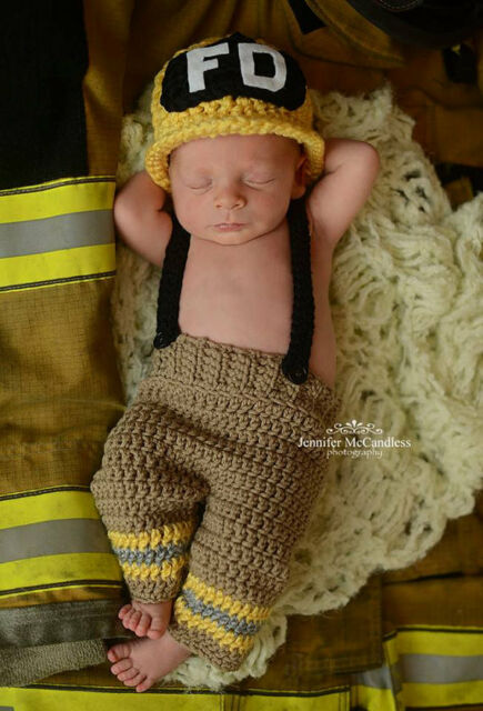Firefighter baby boy clothes baby photo prop fireman set 3-9M