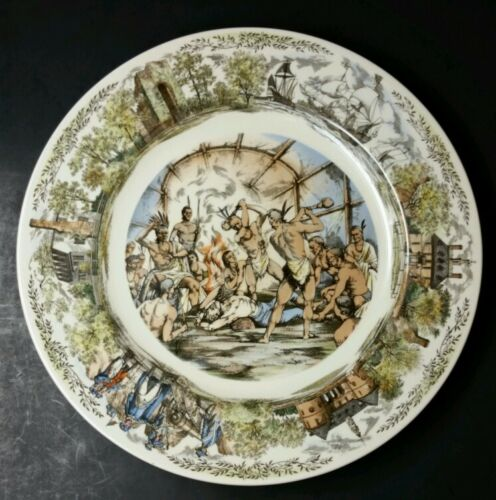 WEDGWOOD WILLIAMSBURG COMMEMORATIVE PLATE JAMESTOWN//POCAHONTAS//JOHN SMITH