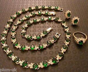 SET-Green-Emerald-Diamond-Gold-GF-Matching-Necklace-Bracelet-Earrings-Ring-PLUM