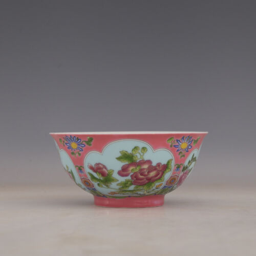 CHINESE OLD MARKED PINK GROUND ENAMEL COLORED FLOWERS PATTERN PORCELAIN BOWL