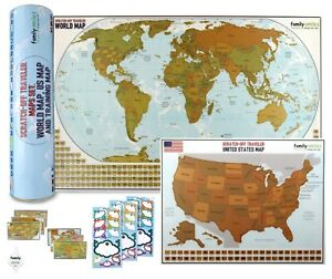 Details about Travel Wall Poster Map Scratch Off World 12 X 27 and USA 13 X  17 Maps 2 in 1 Set