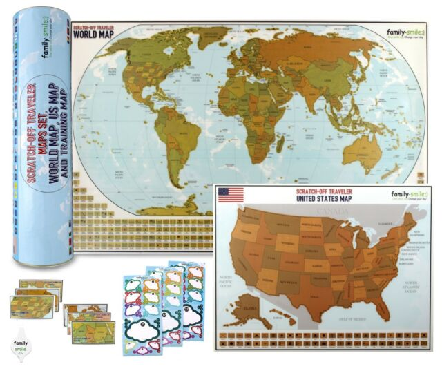 Travel Wall Poster Map Scratch Off World 12 X 27 and USA 13 X 17 Maps 2 in  1 Set