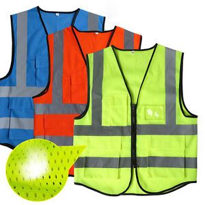 High Visibility Mesh Reflective Safety Vest Work Jackets Security Waistcoat Tape