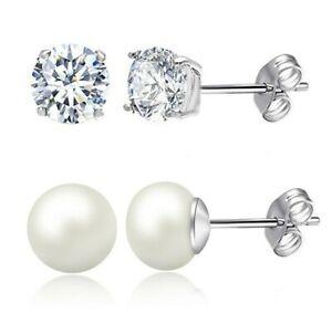 2-PACK-Fresh-Water-Pearl-Stud-Earrings-Crystal-Studs-18K-White-Gold-ITALY