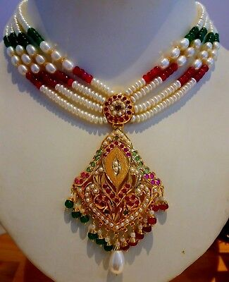 Ruby Emerald Pearl Set Bollywood Style Light Weight Necklace 22k