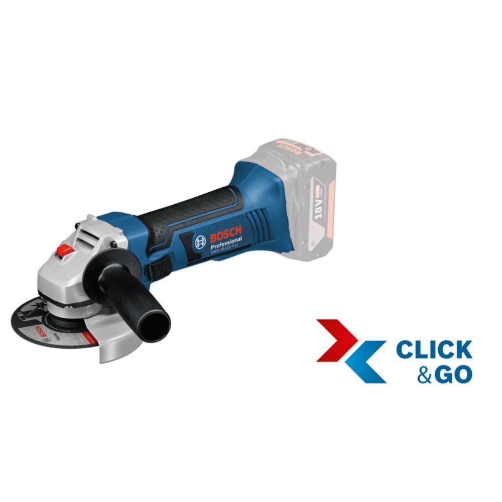 BOSCH Akku-Winkelschleifer GWS 18-125 V-LI in L-BOXX, ohne Akkus und Ladegerät