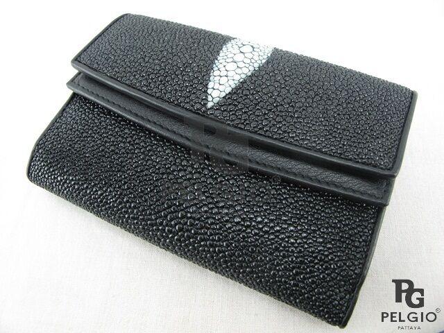 PELGIO Genuine Stingray Skin Leather Bifold Wallet Black
