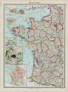 Map Of Western France.Details About Western France Map In 1908
