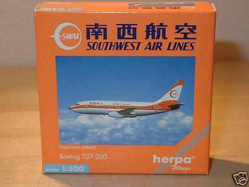 512701-1:500 Herpa Wings b737-200 Southwest Air L