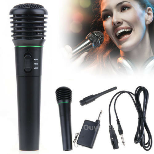 2in1 Wired & Wireless Receiver Handheld Microphone Mic Karaoke Singing DC 1.5V
