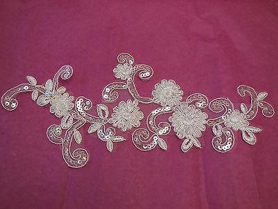 Ivory bridal wedding sequins on floral lace Applique/ floral lace motif.By piece