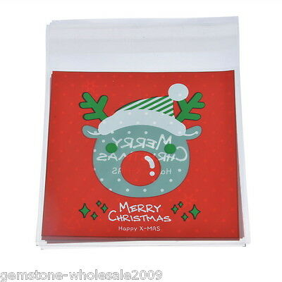 Wholesale W09  Christmas Self Adhesive Seal Plastic Bags Candy Pouches White