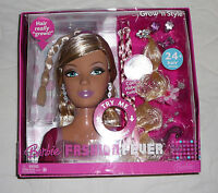 Barbie Grow 'n Style Hair Fashion Fever Doll Styling Head Longer Shorter