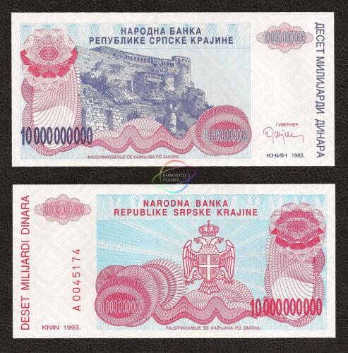 CROATIA 10 Billion Dinara Prefix A 1993 P-R28 UNC Uncirculated