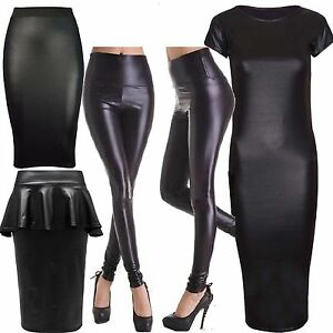 430dbae559f481 Womens Ladies Plus Size High Rise Wet Look PVC Leggings Peplum Skirt ...