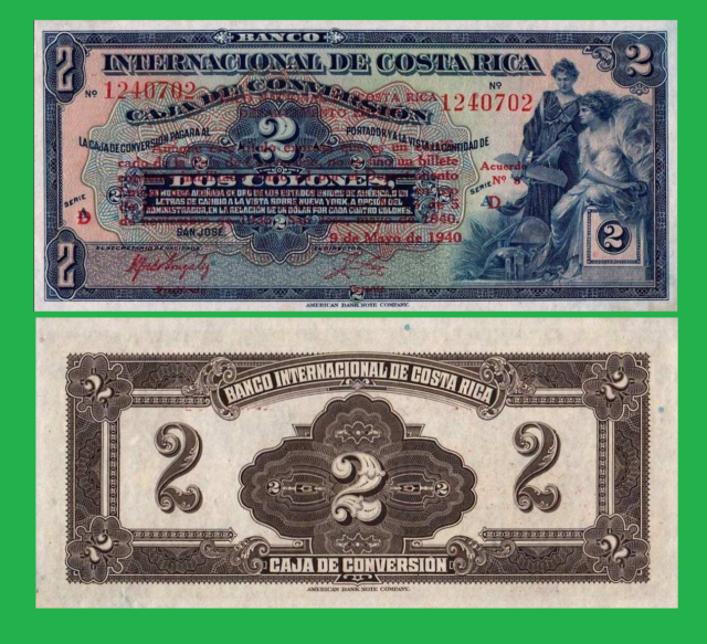 COSTA RICA 2 COLONES 1940 UNC - Reproduction