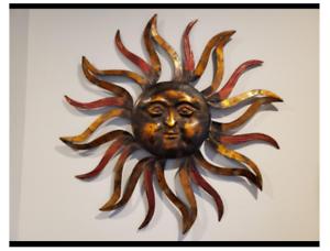 "Large Sun Face Iron Wall Decor Metal Plaque Rustic Sculpture Outdoor Modern 35"""