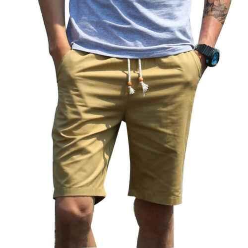 Men Casual Soft Cotton Pure Color Shorts Waistband Loose Short Pants Shorts