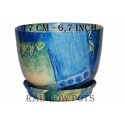 LARGE AND SMALL - CERAMIC PLANT POTS WITH SAUCER PLANTERS, FLOWER POTS