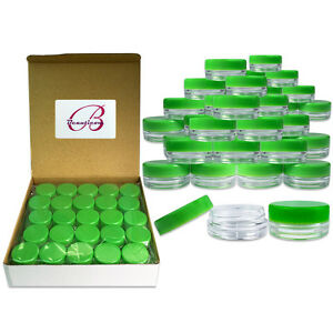 100-Pieces-3-Gram-3ML-Green-Plastic-Makeup-Cosmetic-Cream-Sample-Jar-Containers