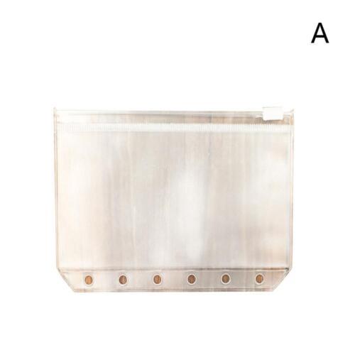 5 Stk A5//A6//A7 Transparent.Zip Lock Umschlag Binder Pocket Refill Organizer~